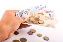 Man give Euro Money Stock Photography