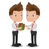 Man Give Gift Oneself Cartoon Vector. Man Give Gift Oneself Cartoon Stock Photo