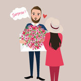 Man give girl flower bouquet surprise vector illustration Royalty Free Stock Image