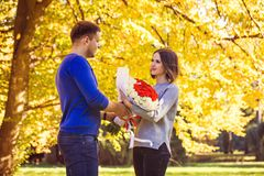 Man Gives A Bouquet To His Woman Royalty Free Stock Image
