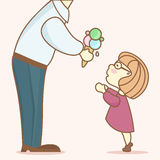 The man gives the child a large portion of ice cream. Dad (showing legs, torso and arm) gives his daughter (the girl in a pink dress) a large portion of ice Stock Photography