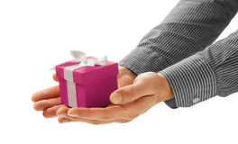 Man gives a gift Royalty Free Stock Photography