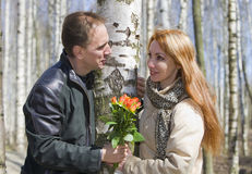 Free Man Gives Girl Bouquet Royalty Free Stock Photos - 13117038