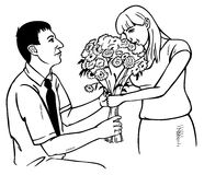 Man gives girl flowers on knee Stock Photos