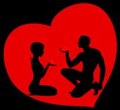 Man gives the heart. The beautiful man gives the heart to the woman Vector Illustration