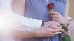 A Man Gives to a Woman a Rose. She Holds His Hand stock video footage
