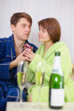 Man gives to the woman small gift in birthday Royalty Free Stock Image
