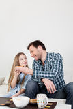 Man gives a toast to his daughter Stock Image