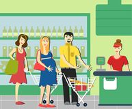 Good manners. man gives way to pregnant woman in the supermarket. Man gives way to pregnant woman Royalty Free Illustration