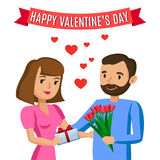 Man gives woman bouquet of flowers for Valentine's day Stock Photography
