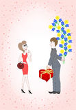 Man gives a woman a huge bouquet  and a box Royalty Free Stock Image