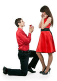 Man gives the woman a ring Stock Photos