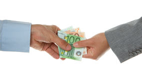 Man giving 150 euro to a woman (business) Royalty Free Stock Photos