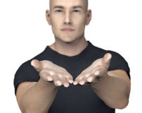 Man with giving or begging hands gesture Stock Photos