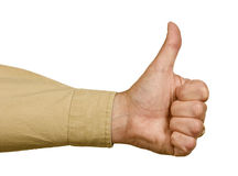 Man Giving A Big Thumbs Up Isolated. Close up shot of a man wearing a shirt giving a big thumbs up royalty free stock photo