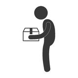 Man giving box carton gift figure pictogram. Illustration eps 10 Royalty Free Stock Photography