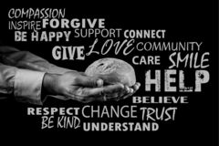 Man giving Bread. Helping Hand Concept. Word cloud, Black and white stock photos