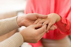 Man giving diamond ring to woman on valentines day stock photography