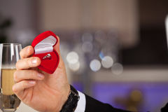 Man giving engagement box with ring. Will you marry me. Holidays and celebrations concept Royalty Free Stock Image