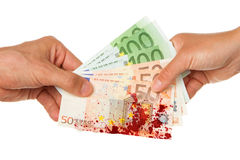 Man giving 450 euro to a woman, bloody Stock Photos