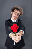 Man giving fabric rose. Boy with glasses is donating a fabric red rose Stock Images