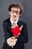 Man giving fabric rose Stock Photos