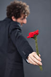 Man giving fabric rose. Boy with glasses and jacket is donating a fabric red rose Stock Photo