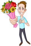 Man giving flower bouquet Stock Images