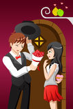 Man giving flowers to his girlfriend on a Valentine day Royalty Free Stock Images