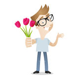 Man giving flowers tulips gift Stock Photography