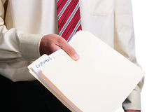 Man giving a folder. Man in a shirt and a tie giving a customer folder. Add your text to the folder stock image