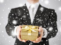 Man giving gift box. Love, romance, holiday, celebration concept - man giving gift box Stock Image