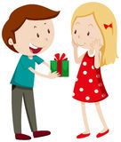 Man giving gift to girlfriend Royalty Free Stock Photo