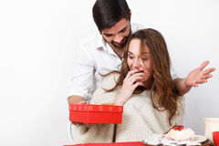 Man giving gift to his girlfriend on valentine day Stock Photo