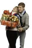 Man giving a gift to woman Stock Photos