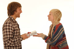 Man giving girlfriend present Royalty Free Stock Images