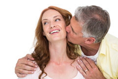 Man giving his partner a kiss Royalty Free Stock Photography