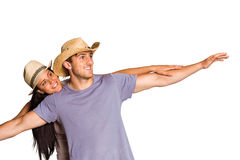 Man giving his pretty girlfriend a piggy back Royalty Free Stock Image
