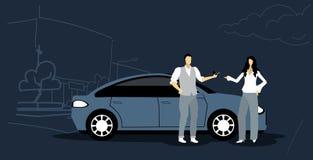 Man giving keys to woman car sharing transportation service concept modern city street cityscape background sketch. Horizontal vector illustration royalty free illustration
