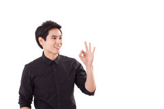 Man giving ok, acceptance hand sign Royalty Free Stock Photography