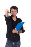 Man giving orders behind the camera Royalty Free Stock Photography