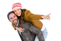 Man giving piggyback ride to woman Royalty Free Stock Photo