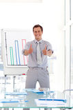 Man giving a presenentation with Thumbs up Royalty Free Stock Photos