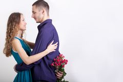 Man giving present to his girlfriend Stock Photography