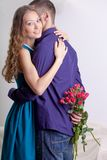 Man giving present to his girlfriend. Young men giving present to his girlfriend Stock Images