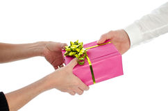 Man giving a present to a woman Stock Photo