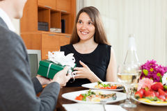 Man giving present to woman Stock Image