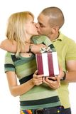 Man giving a present tot his girlfriend Royalty Free Stock Image