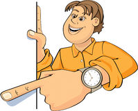 Man giving a presentation. An illustrated or cartoon view of a man pointing with his finger as he gives a visual presentation Stock Photo