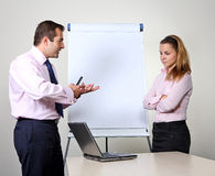 Man giving a presentation on a flip chart Royalty Free Stock Photography